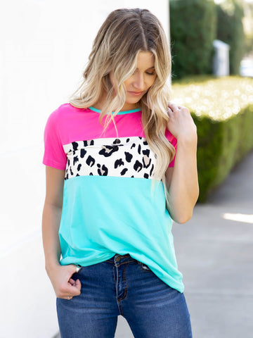 The Saylor Top | S-3X - Pink/Teal