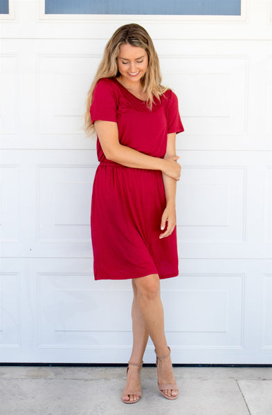 The Kolbie Dress - Cranberry - Tickled Teal LLC