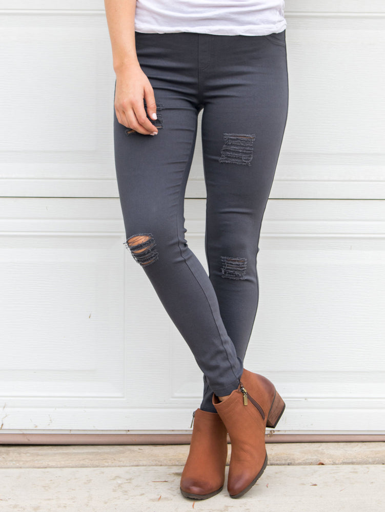 Distressed Jeggings - Charcoal