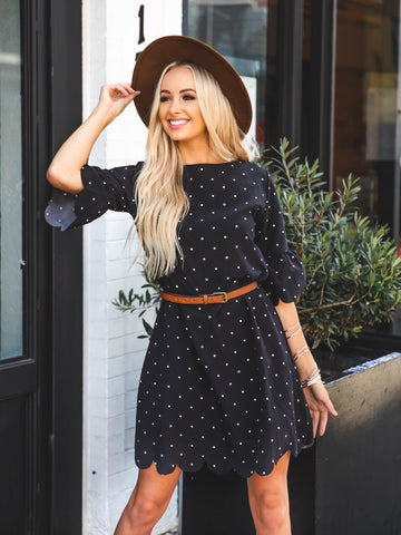 Polka Dot Haylie Scallop Dress - Black