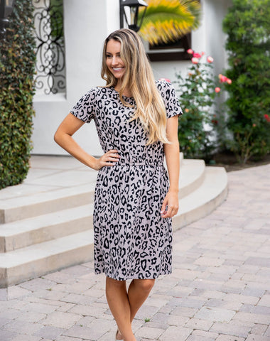 Cheetah Kolbie Dress - Taupe