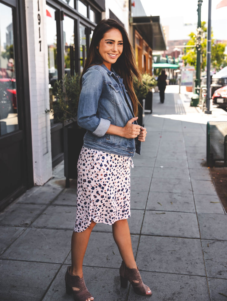 Iris Weekend Skirt - Navy Pink dot