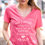 Little Bit of Coffee and a Whole lot of Jesus Tshirt - White Text - Tickled Teal LLC