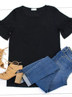 Flare Sleeve Top - Black