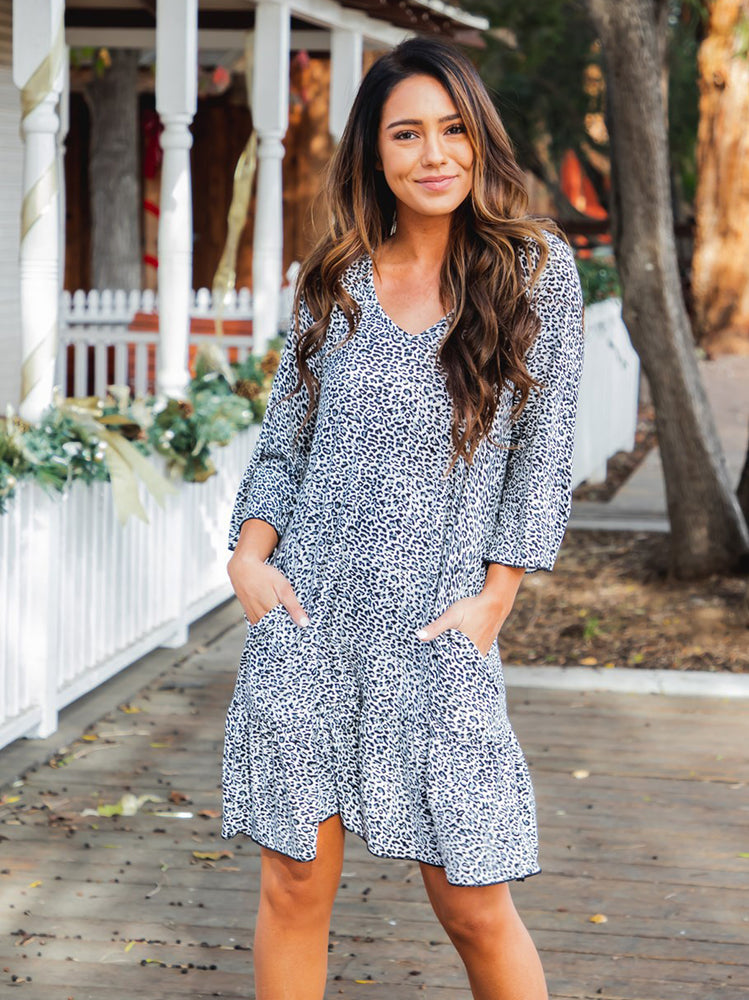 Memphis Dress - Small Blue Cheetah