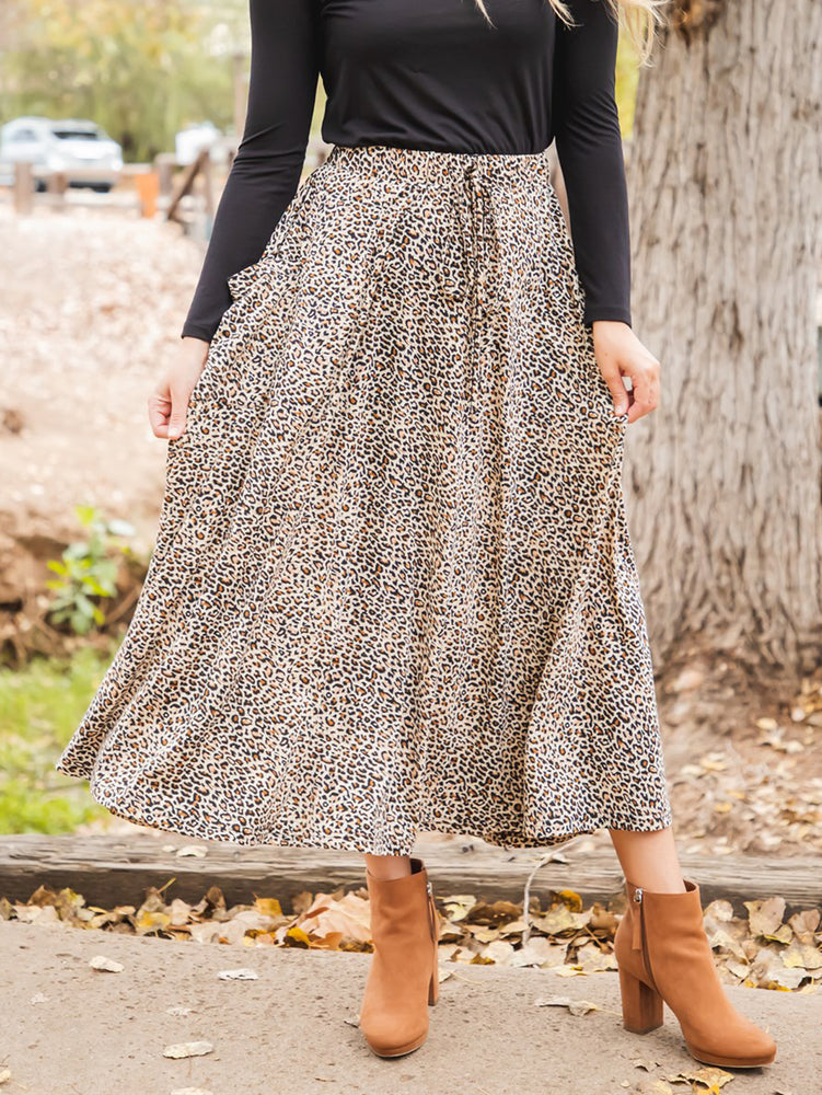 Animal Print Olive Pocket Skirt - Small Brown Cheetah