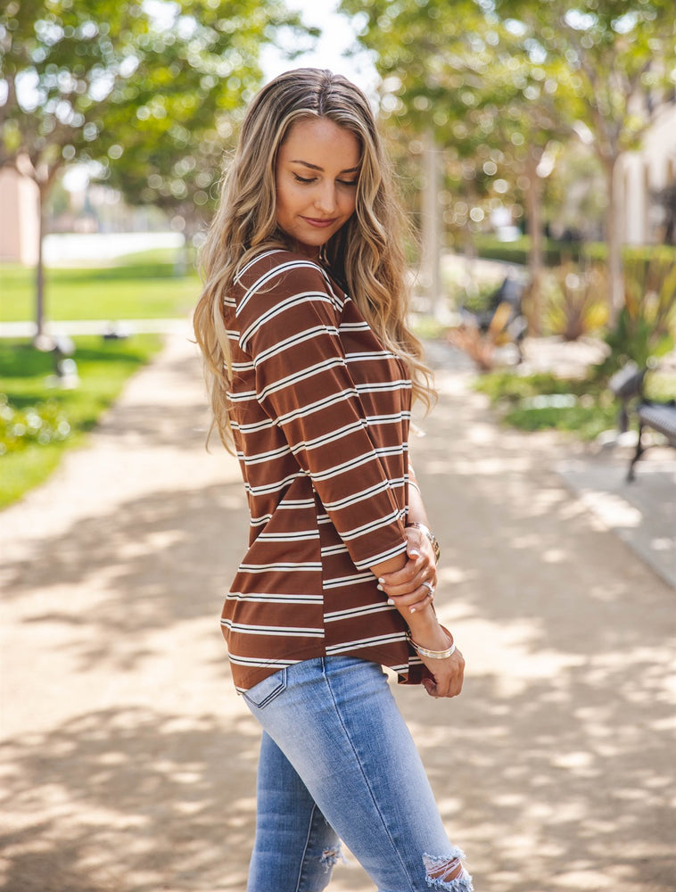 The Nova Top - Brown/rust Stripe