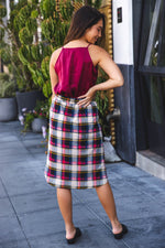 Plaid Weekend Skirt - Red Navy