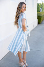 Cali Striped Tie Dress - Blue