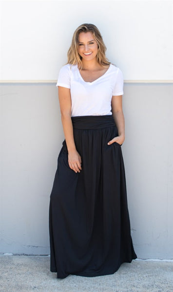 Pocket Maxi Skirt - Black - Tickled Teal LLC