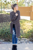 The Teagan Textured Cardigan - Charcoal - Tickled Teal LLC