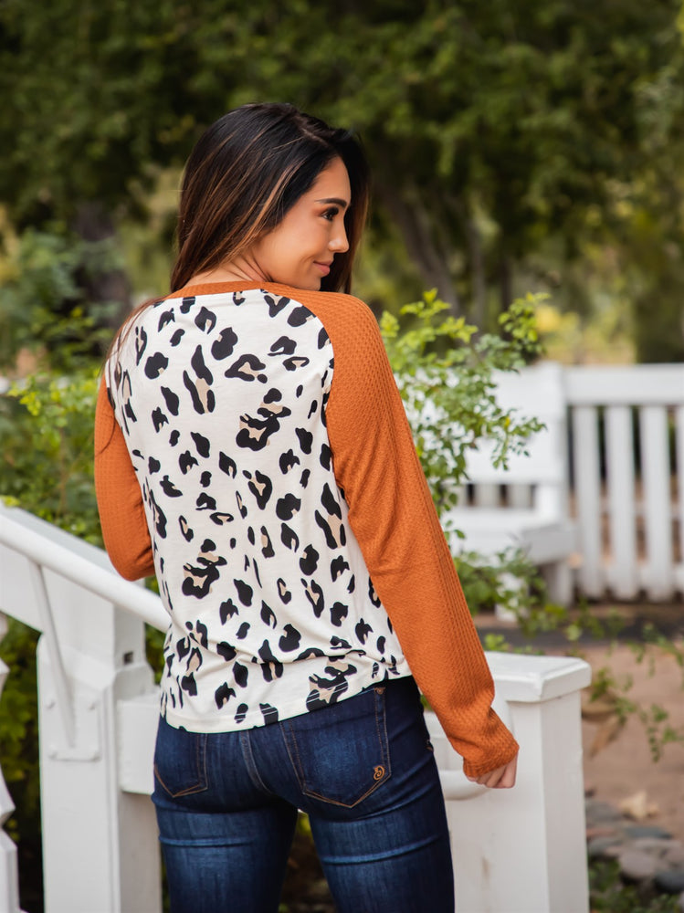 Monica Top - Cream Leopard/Orange