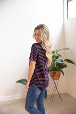 Short Sleeve Striped Mia Top - Navy/Brown