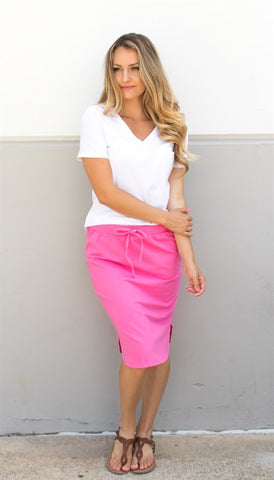 Solid Weekend Skirt - Pink - Tickled Teal LLC