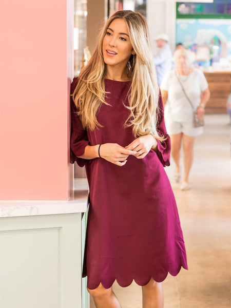 Haylie Scallop Dress - Maroon
