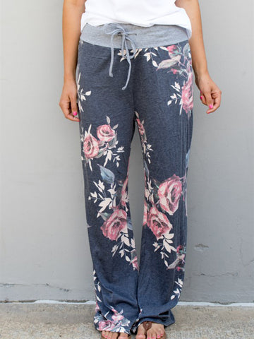 Floral Wide Leg Lounger Pants - Charcoal - Tickled Teal LLC