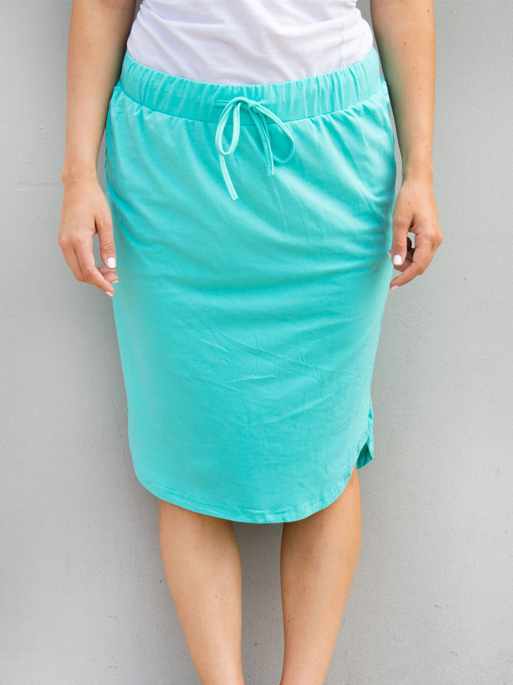 Solid Weekend Skirt - Teal - S-3X