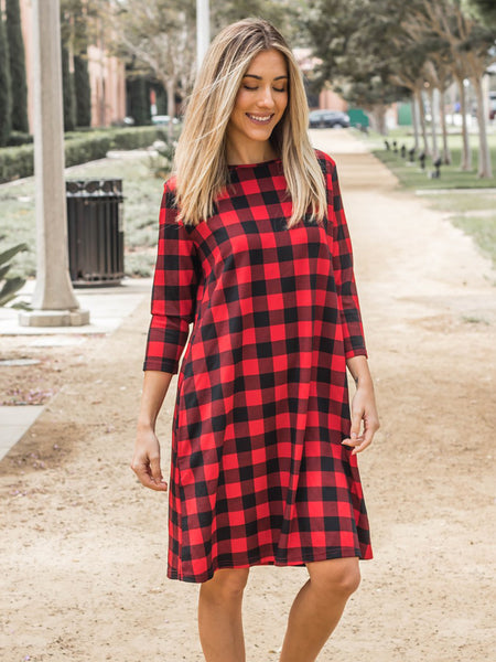 The Plaid Camille Dress - Red