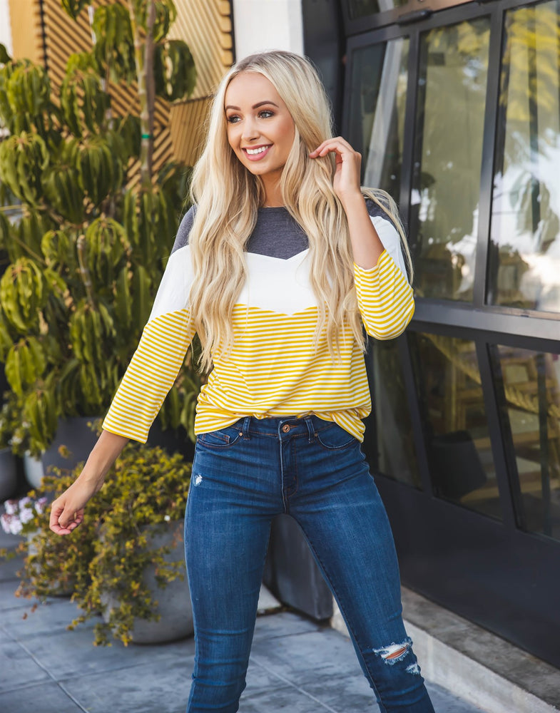 Darla Top - Charcoal/White/Yellow