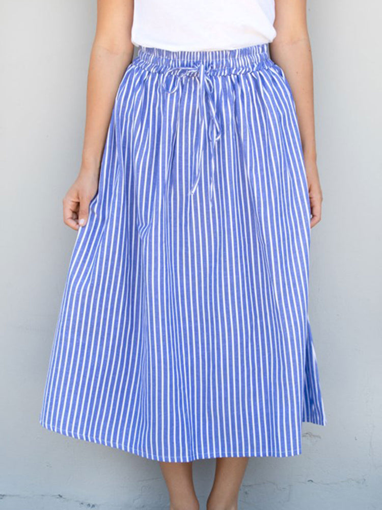 Pin Stripe Midi Skirt - Blue