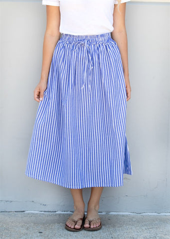 Pin Stripe Midi Skirt - Blue - Tickled Teal LLC