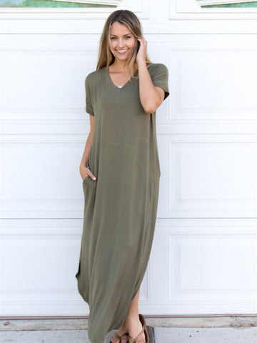 Relaxed Maxi Dress - Olive - Tickled Teal LLC