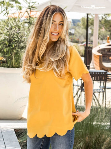 Scallop Edge Top - Mustard