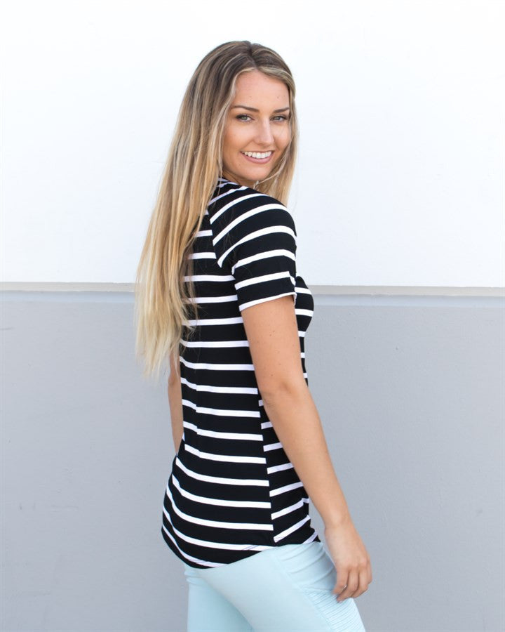 Short Sleeve Stripe Tunic - Black - Tickled Teal LLC