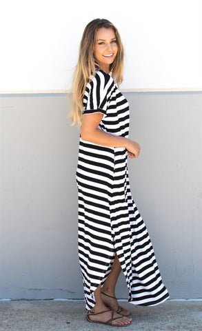 Striped Relaxed Maxi Dress - Black - Tickled Teal LLC