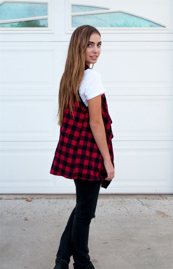 Plaid Draped Vest - Tickled Teal LLC