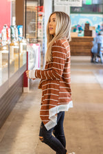 The Harlow Cardigan - Brick Brown - Tickled Teal LLC