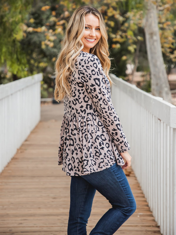 Animal Print Evelyn Top - Taupe Leopard