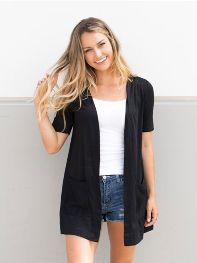 Short Sleeve Perfect Boyfriend Cardigan - Black