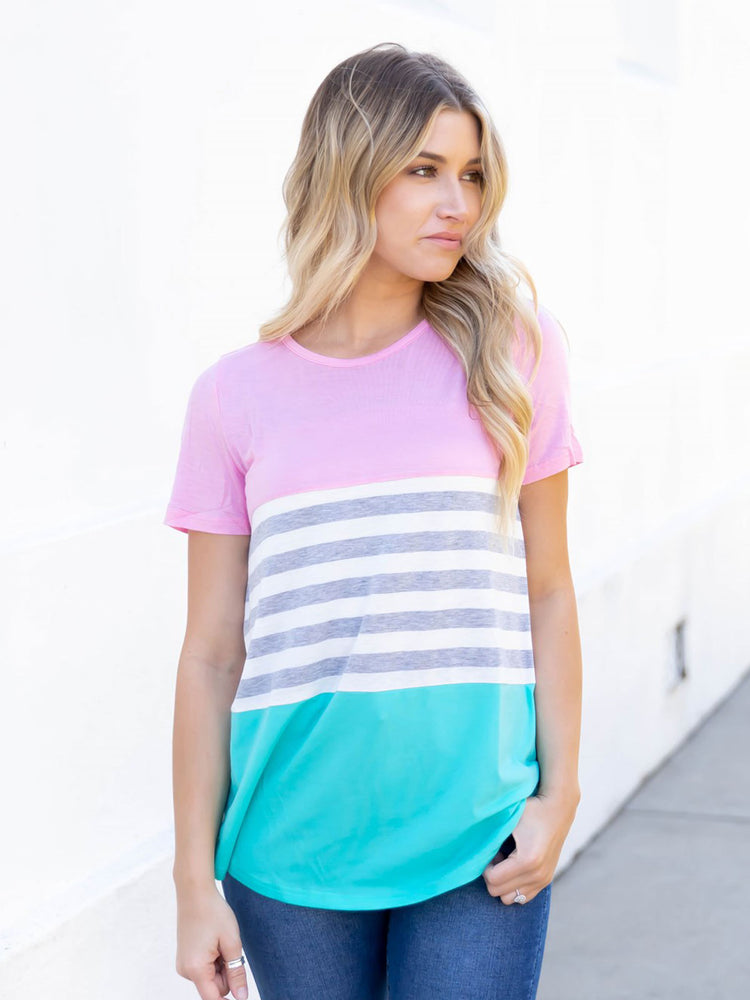 April Top - Pink / Teal