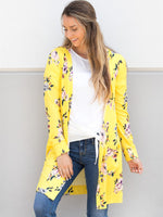 Floral Long Sleeve Cardigan - Yellow