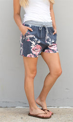 Floral Lounge Shorts - Charcoal - Tickled Teal LLC