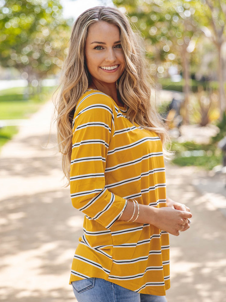 The Nova Top - Yellow/white Stripe