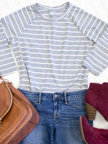 Striped Sydney Tunic | S-3X  - Gray - Tickled Teal LLC