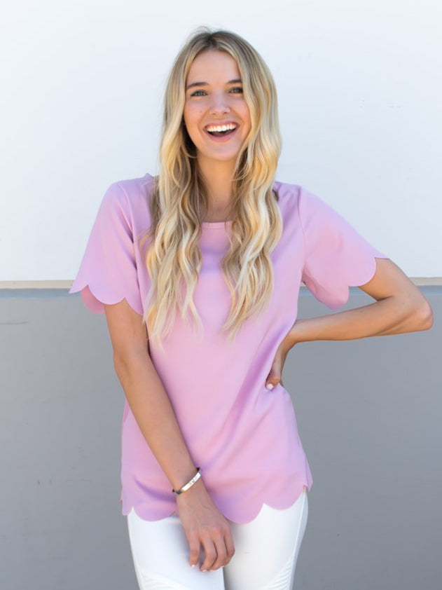 Scallop Edge Top - Lilac