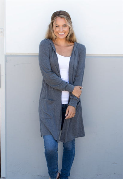 Hooded Cardigan - Tickled Teal LLC
