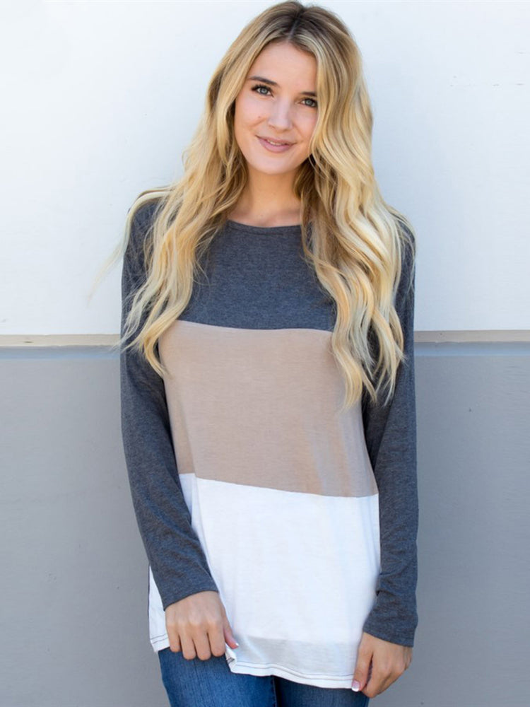 Colorblock Tunic - Gray Tan