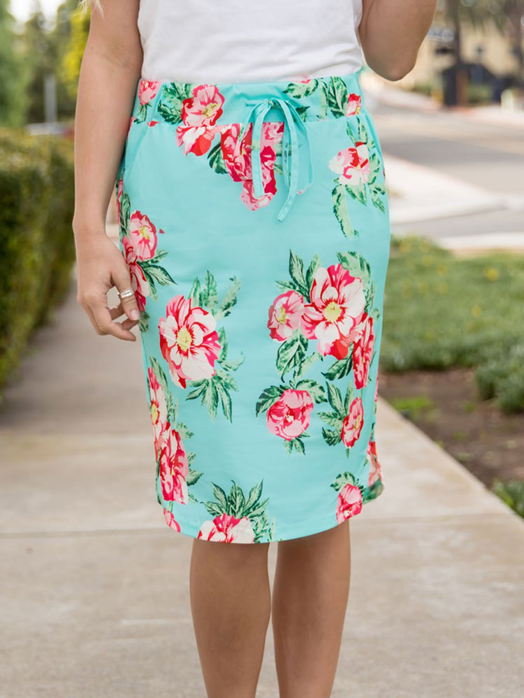 Ava Floral Weekend Skirt | S-3X - Teal