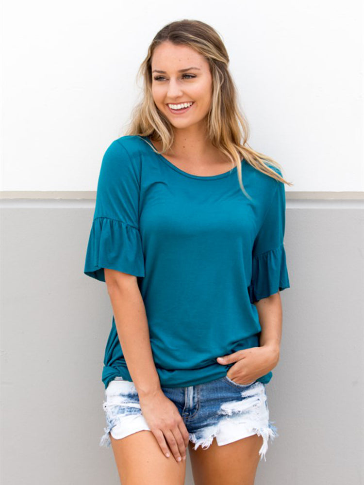 Flare Sleeve Top - Teal