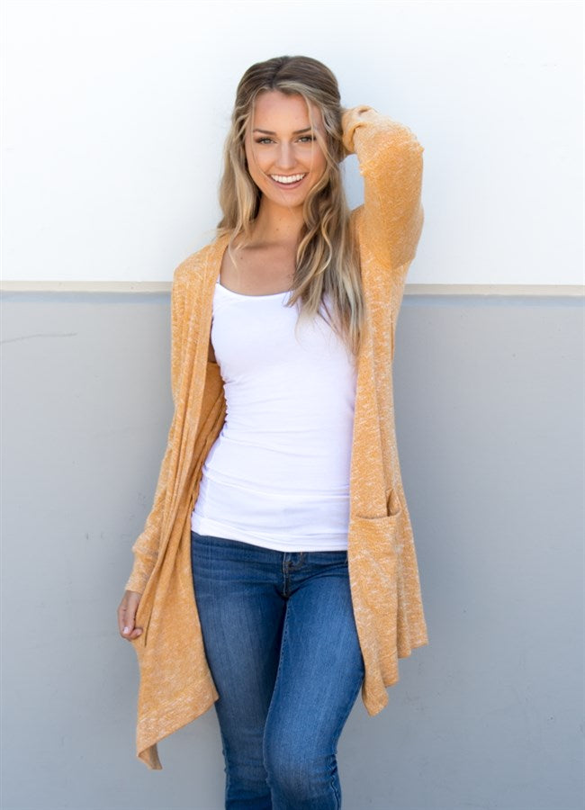 Knit Cardigan - Mustard - Tickled Teal LLC