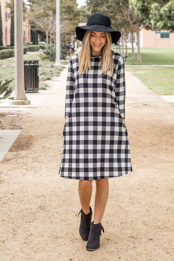 The Plaid Camille Dress - White - Tickled Teal LLC