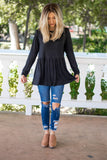 The Evelyn Top - Black - Tickled Teal LLC