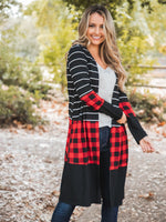 Cooper Cardigan - Black Stripe/Red Plaid