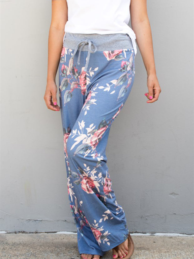 Floral Wide Leg Lounger Pants - Blue