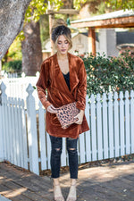 The Poppy Velvet Cardigan - Rust