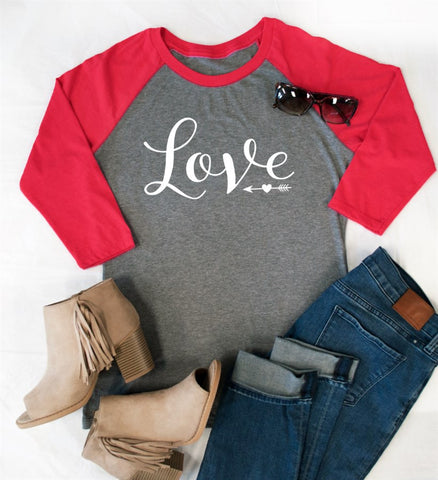 (White) LOVE Raglan Tee - Tickled Teal LLC